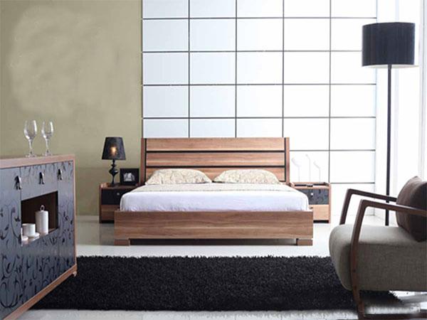 Giường ngủ gỗ phong cách hiện đại